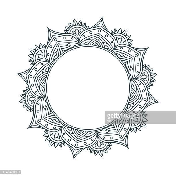 mandala line drawing design - spirituality stock illustrations