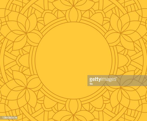 mandala line frame background - spirituality stock illustrations