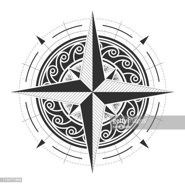 mandala ornament illustration - north star stock illustrations