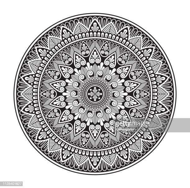 mandala ornament illustration - filigree stock illustrations