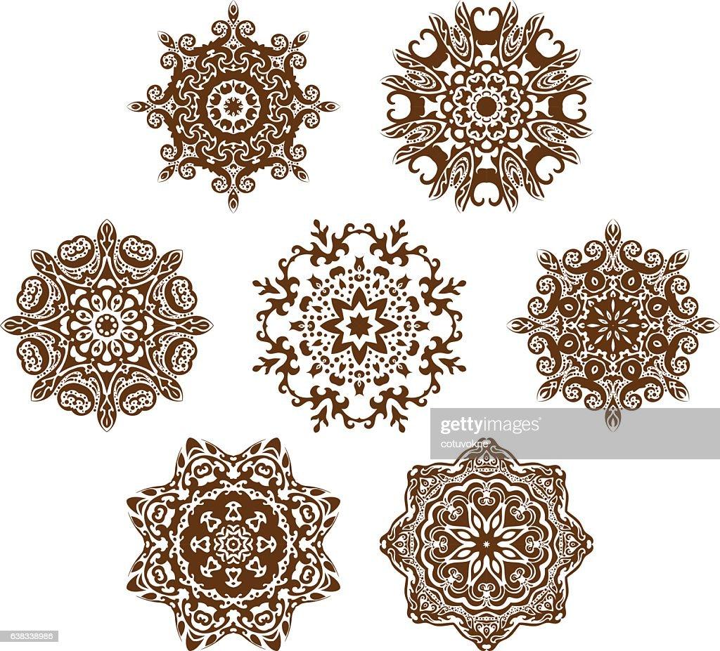 Mandala ornament vector set