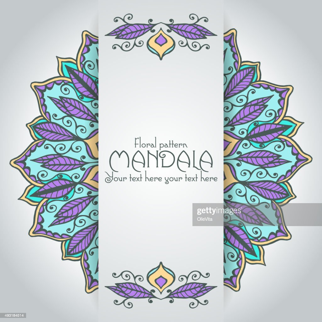 mandala pattern design template vintage ethnic background frame