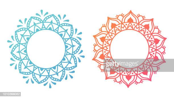 mandala pattern designs - indian culture stock illustrations