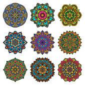 Mandala pattern flower vector set.