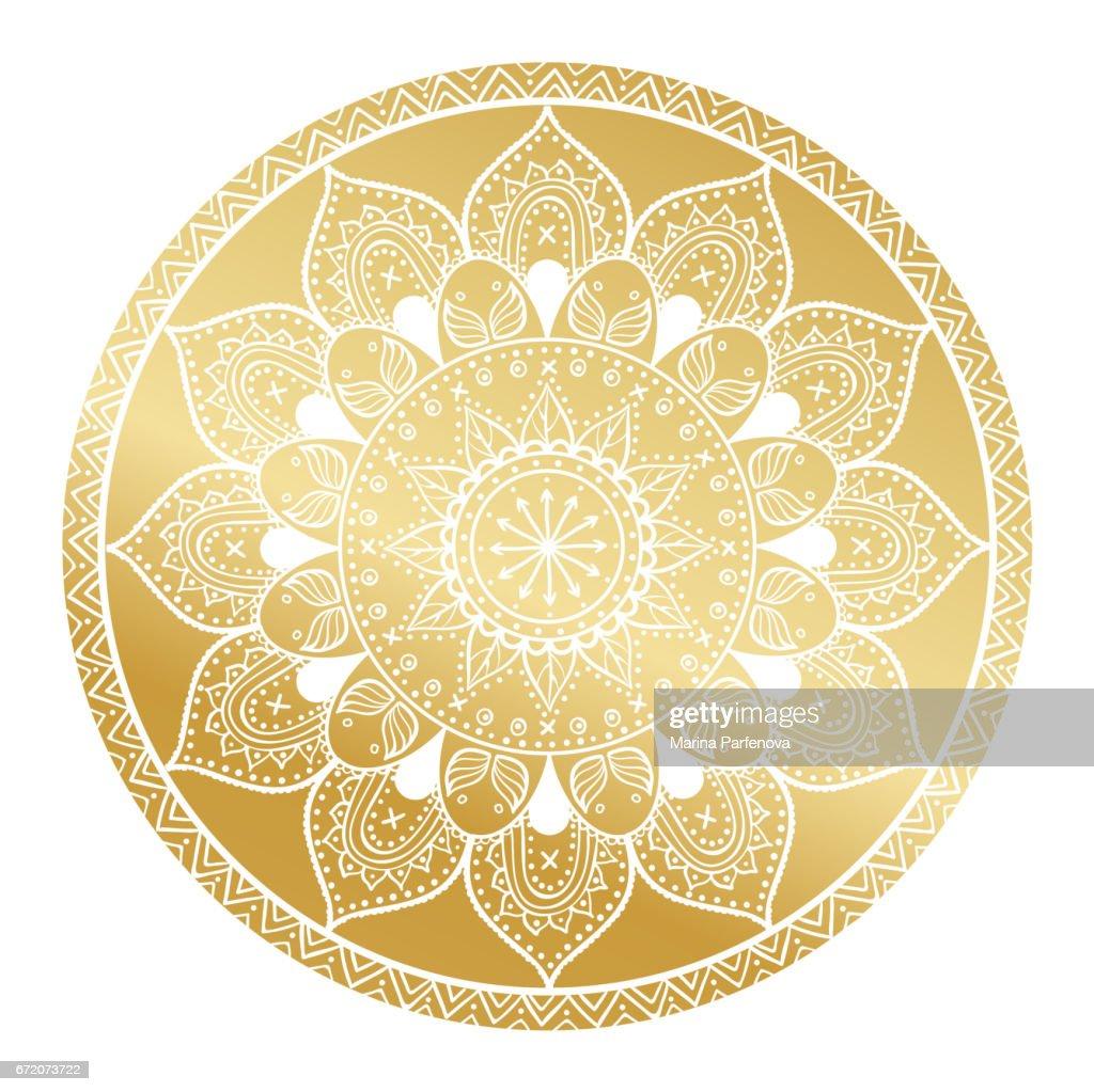 Mandalamuster Arabischvintage Deko Ornament Mandala Gold Hintergrund