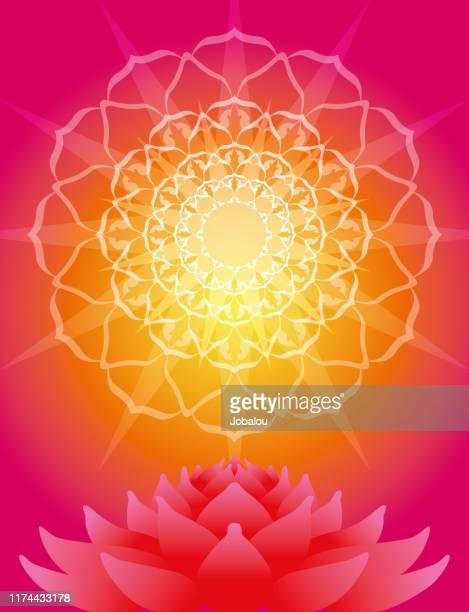 mandala petal rays and lotus flower - spirituality stock illustrations