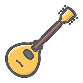 Mandolin filled outline icon, music and instrument, sound sign vector graphics, a colorful line pattern on a white background, eps 10.