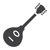 Mandolin glyph icon, music and instrument, sound sign vector graphics, a solid pattern on a white background, eps 10.