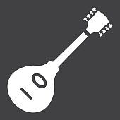 Mandolin glyph icon, music and instrument, sound sign vector graphics, a solid pattern on a black background, eps 10.
