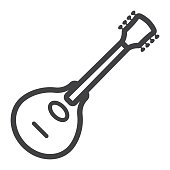 Mandolin line icon, music and instrument, sound sign vector graphics, a linear pattern on a white background, eps 10.