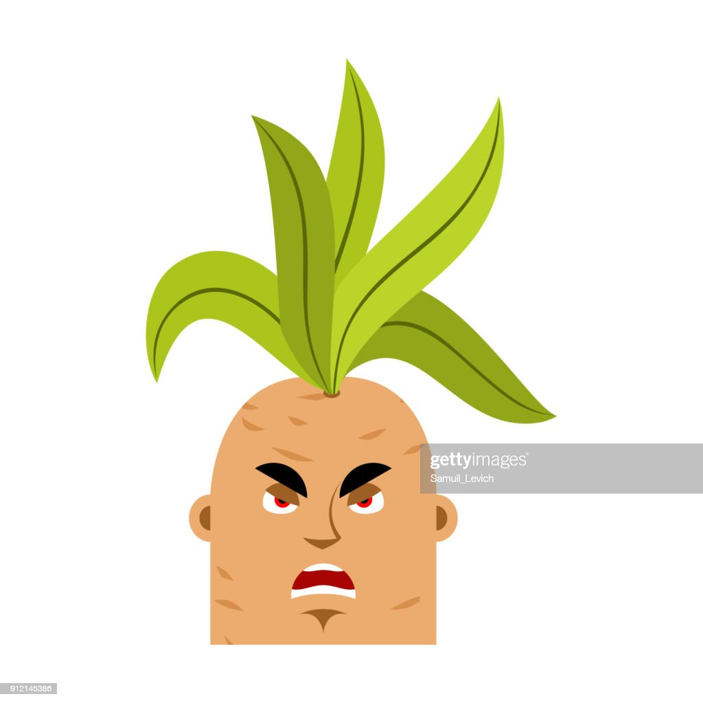 Mandrake root angry emoji. Evil Legendary mystical plant in form of man.