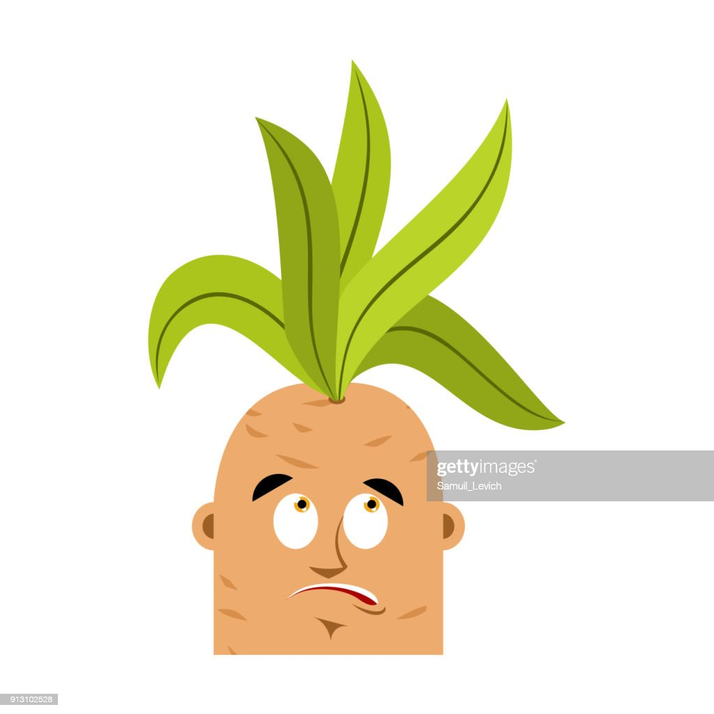 Mandrake root confused oops emoji. Surprise Legendary mystical plant in form of man.