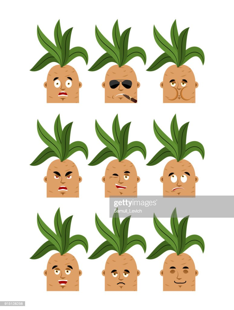 Mandrake root set emoji avatar. sad and angry face. guilty and sleeping. Legendary mystical plant in form of man seafarer Smoking cigar emotion face