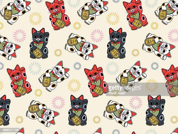 maneki neko (seamless, asian pattern) - japanese language stock illustrations, clip art, cartoons, & icons