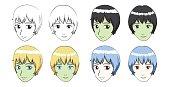 Manga Short Hair Girl Stroke Vector Illustration