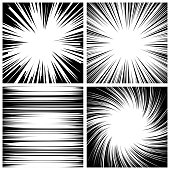 Manga Speed Lines Set Vector. Grunge Ray Illustration. Black And White. Space For Text. Comic Book Radial Lines Background. Manga Speed Frame. Square Stamp Illustration