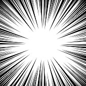 Manga Speed Lines Vector. Grunge Ray Illustration. Black And White. Space For Text. Comic Book Radial Lines Background Frame. Superhero Action. Explosion Illustration. Square stamp