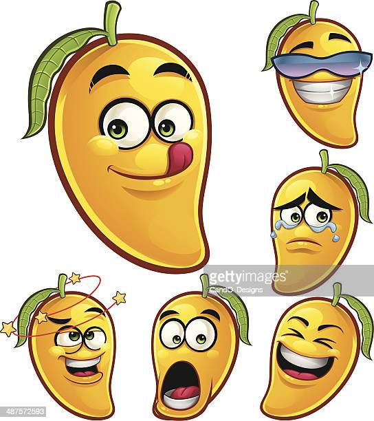 mango cartoon set a - mango fruit stock illustrations, clip art, cartoons, & icons