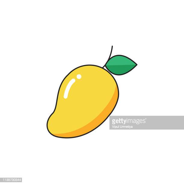 mango icon - mango fruit stock illustrations, clip art, cartoons, & icons
