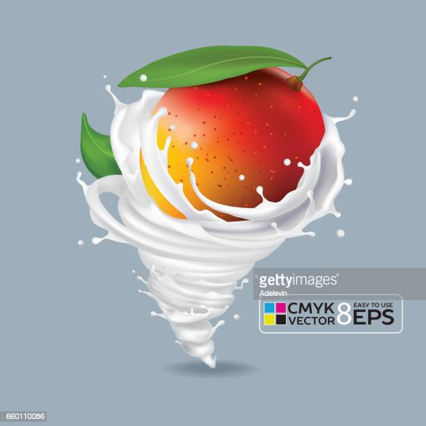 mango milk tornado - mango fruit stock illustrations, clip art, cartoons, & icons