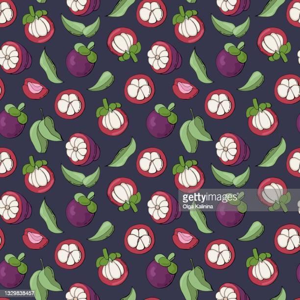 mangosteen fruit seamless pattern design for