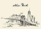 Manhattan bridge New York US Vector drawn.