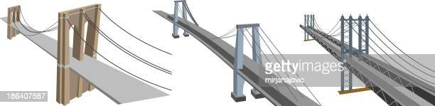 manhattan bridges - brooklyn bridge stock illustrations, clip art, cartoons, & icons