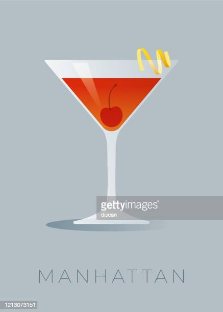 manhattan cocktail with a lemon peel and a maraschino cherry. - whiskey stock illustrations