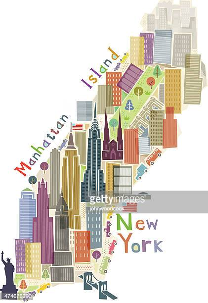 manhattan island illustration - empire state building stock illustrations, clip art, cartoons, & icons
