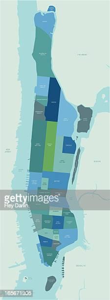 manhattan neighborhoods map - ellis island stock illustrations, clip art, cartoons, & icons