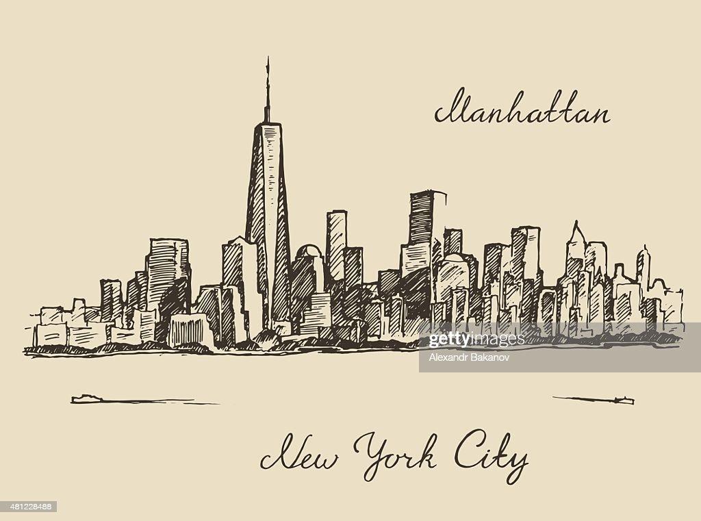 Manhattan New York city engraved illustration
