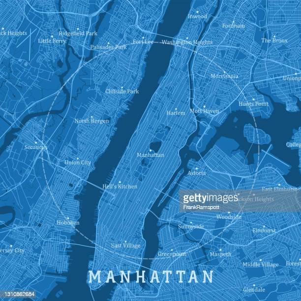 manhattan ny city vector road map blue text - frankramspott stock illustrations