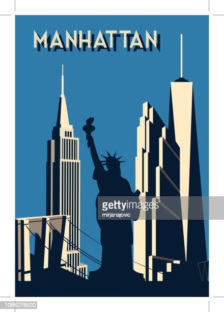 manhattan- retro poster - empire state building stock illustrations