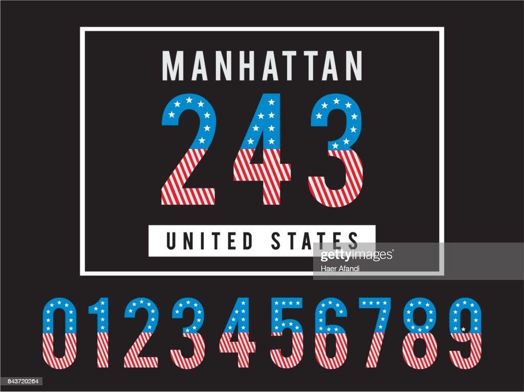 Manhattan Set Numbers Textured Flag USA