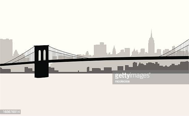 manhattan skyline - brooklyn bridge stock illustrations, clip art, cartoons, & icons
