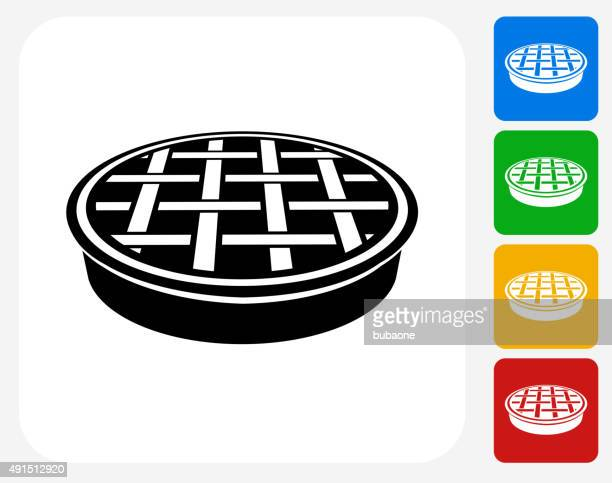 manhole cover icon flat graphic design - water treatment stock illustrations, clip art, cartoons, & icons