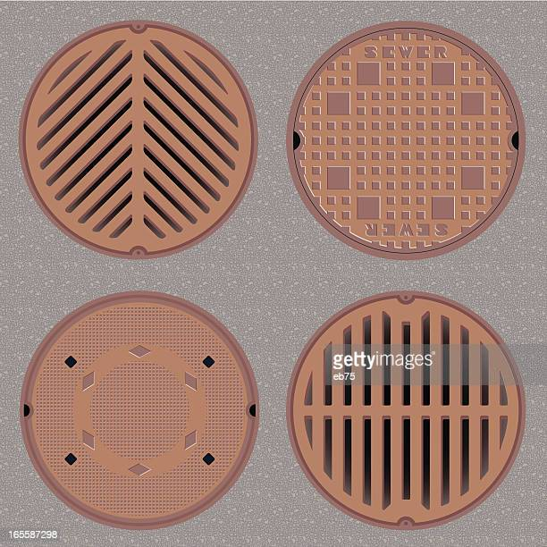manhole (sewer) covers - water treatment stock illustrations, clip art, cartoons, & icons