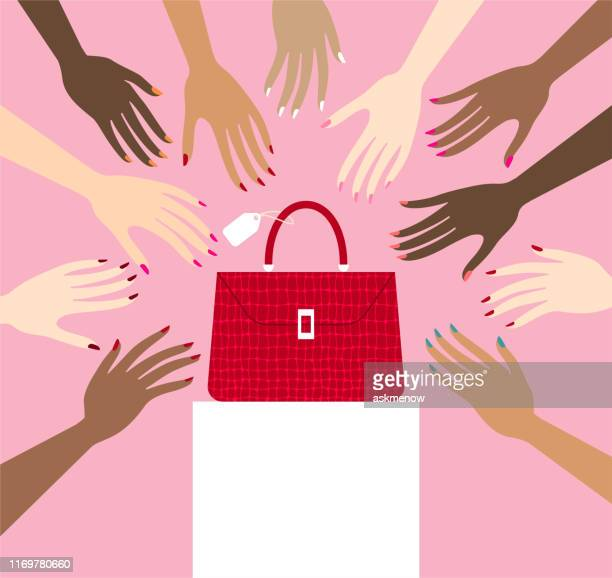 manicure - leather purse stock illustrations
