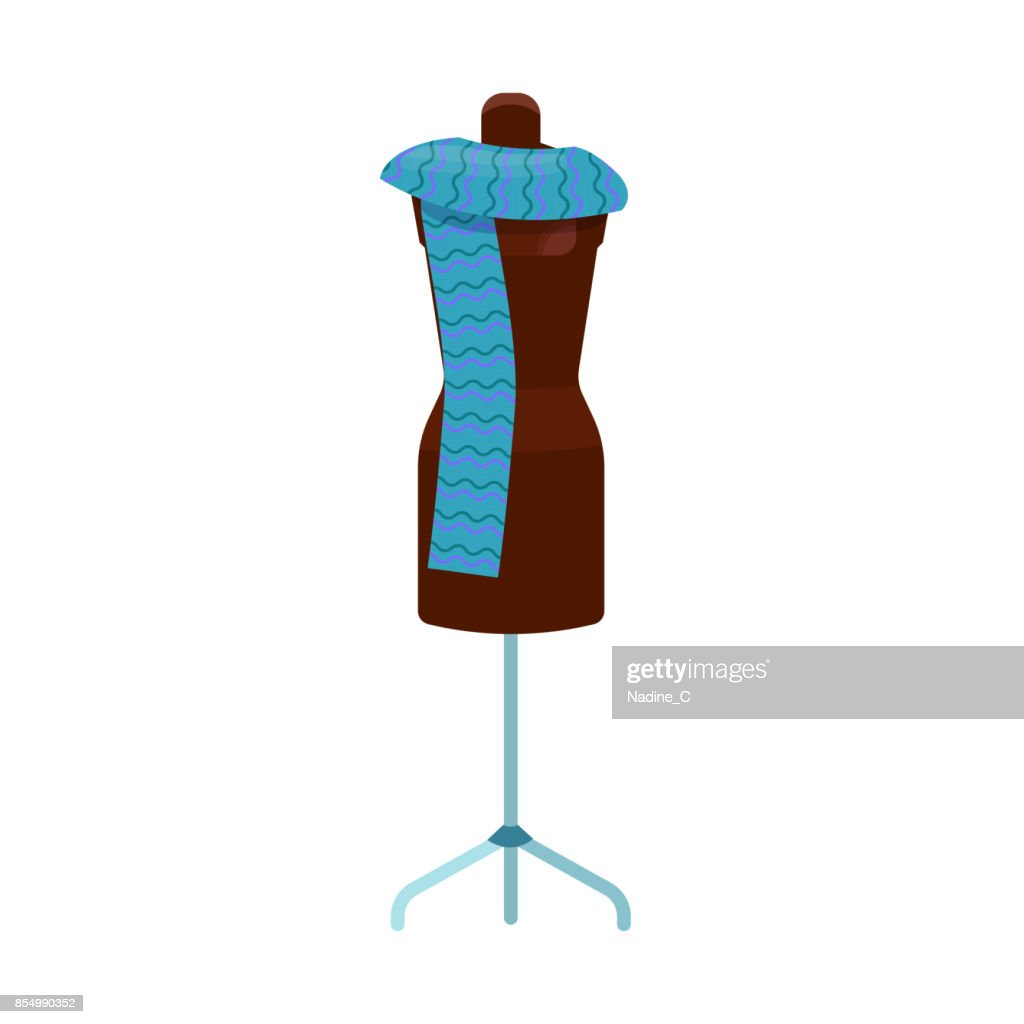 Manikin icon isolated with blue scarf, dressmaker symbol for tailor or clothes shop, vector illustration