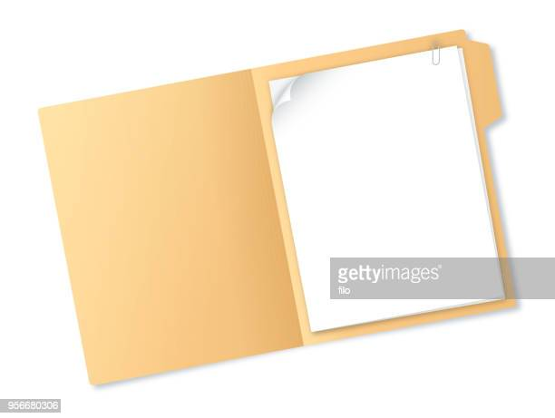 manila folder with papers - open stock illustrations