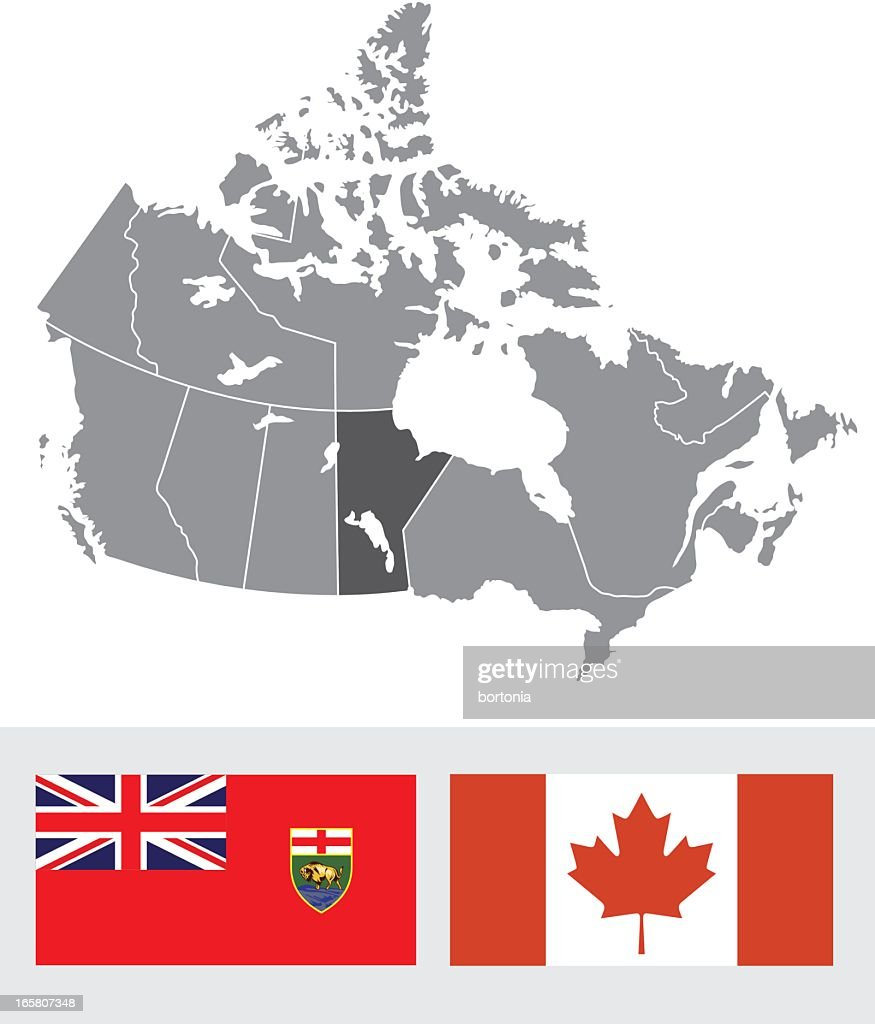 Manitoba, Canada Map and Flag