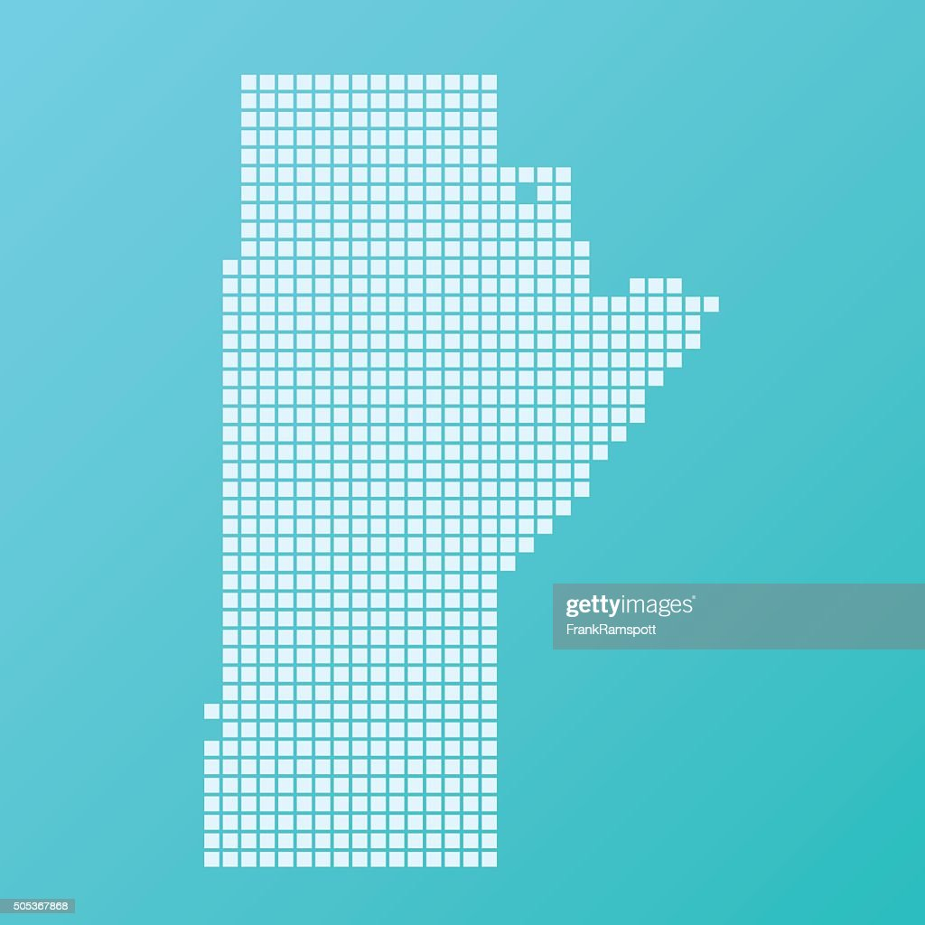 Manitoba Map Basic Square Pattern Turquoise