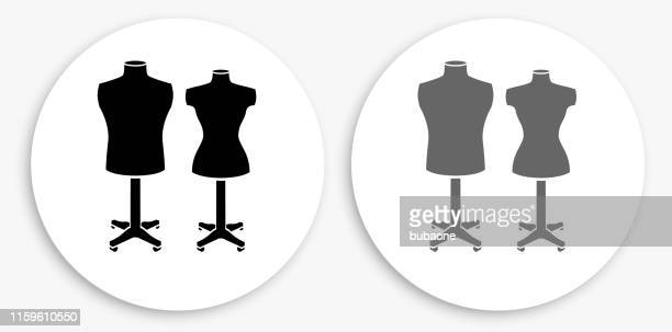 mannequin black and white round icon - mannequin stock illustrations, clip art, cartoons, & icons