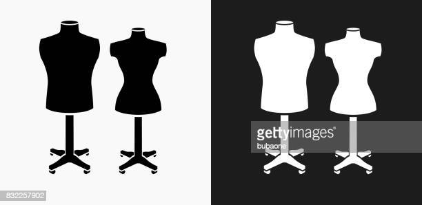 mannequin icon on black and white vector backgrounds - mannequin stock illustrations, clip art, cartoons, & icons