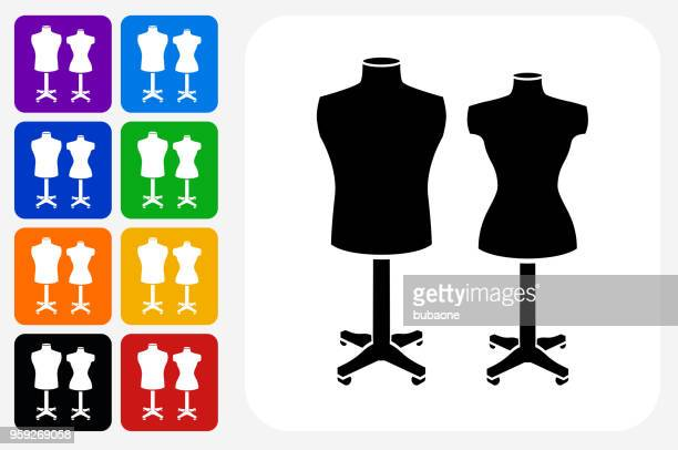 mannequin icon square button set - mannequin stock illustrations, clip art, cartoons, & icons