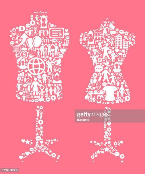 Mannequin Frauenrechte und Girl Power Symbol Muster