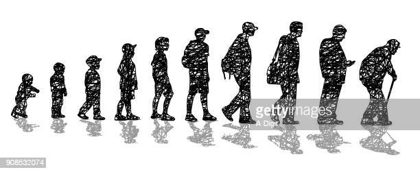 man's aging process scribbles - senior adult stock illustrations, clip art, cartoons, & icons
