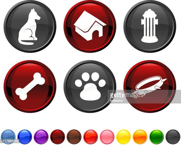 man's best friend royalty free vector icon set - pet equipment stock illustrations, clip art, cartoons, & icons