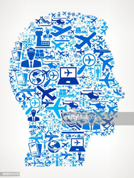 Man's Face Portrait  Aviation and Air Planes Vector Graphic