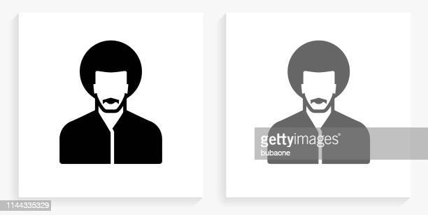 Man's Face Portrait Black and White Square Icon